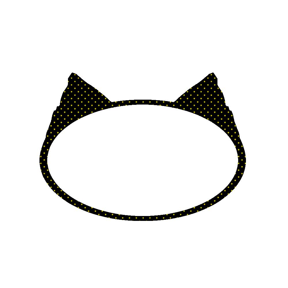 楕円の猫耳フレームブラック×イエロードット
