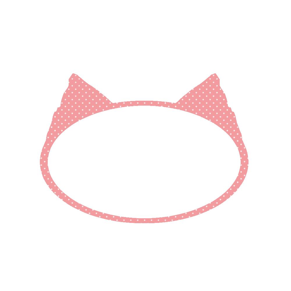 楕円の猫耳フレームピンク×ホワイトドット