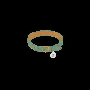迷子札のついた首輪グリーン-Cat collar with id tag green-