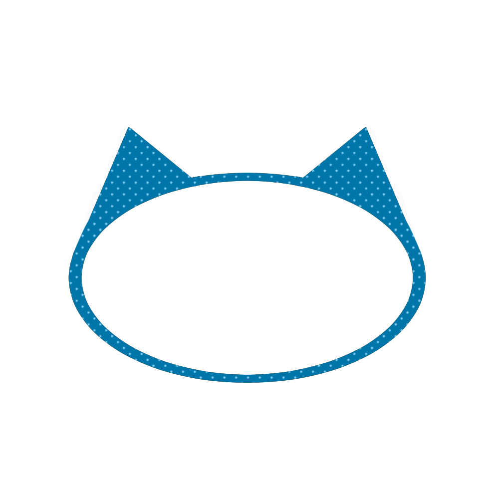 楕円の猫耳フレームブルー×ライトブルードット