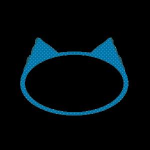 楕円の猫耳フレームブルー×ライトブルードット-Elliptic cat ear frame Blue × Light Blue Dot-
