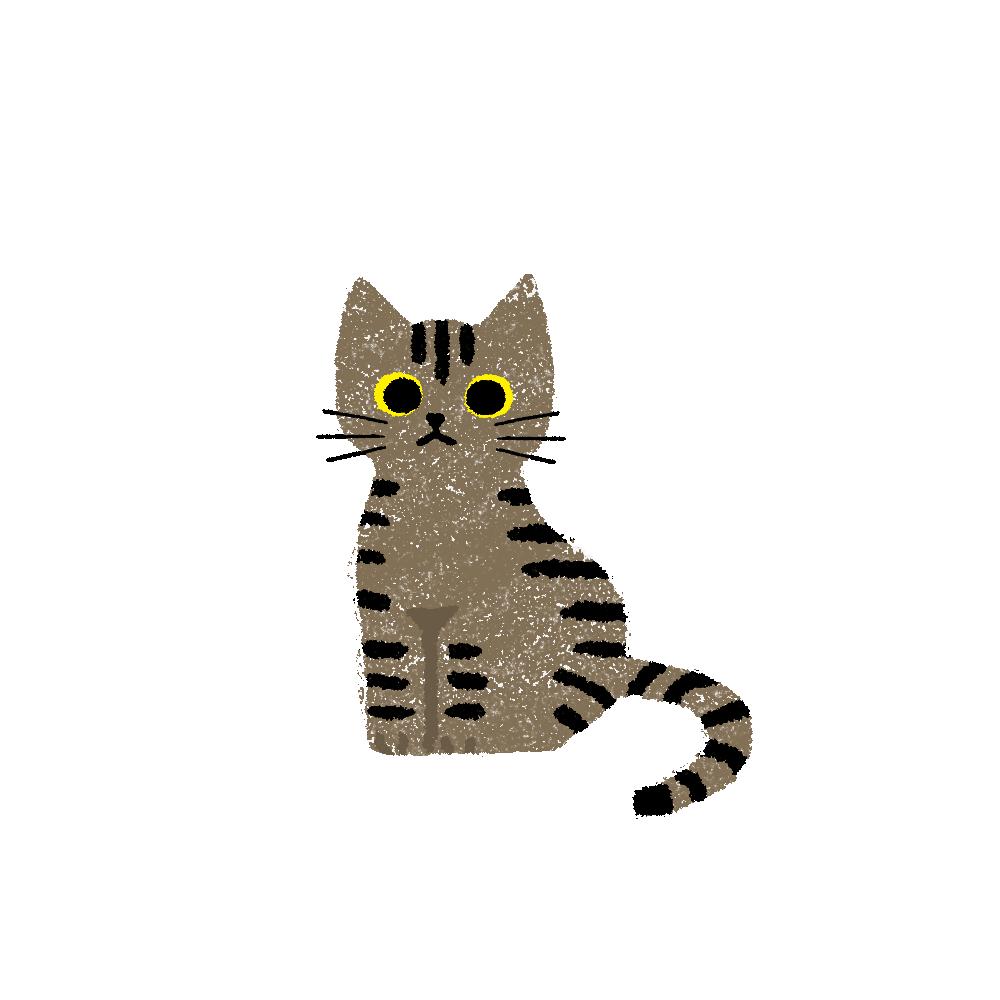 がさがさタッチおすわり猫1キジトラ