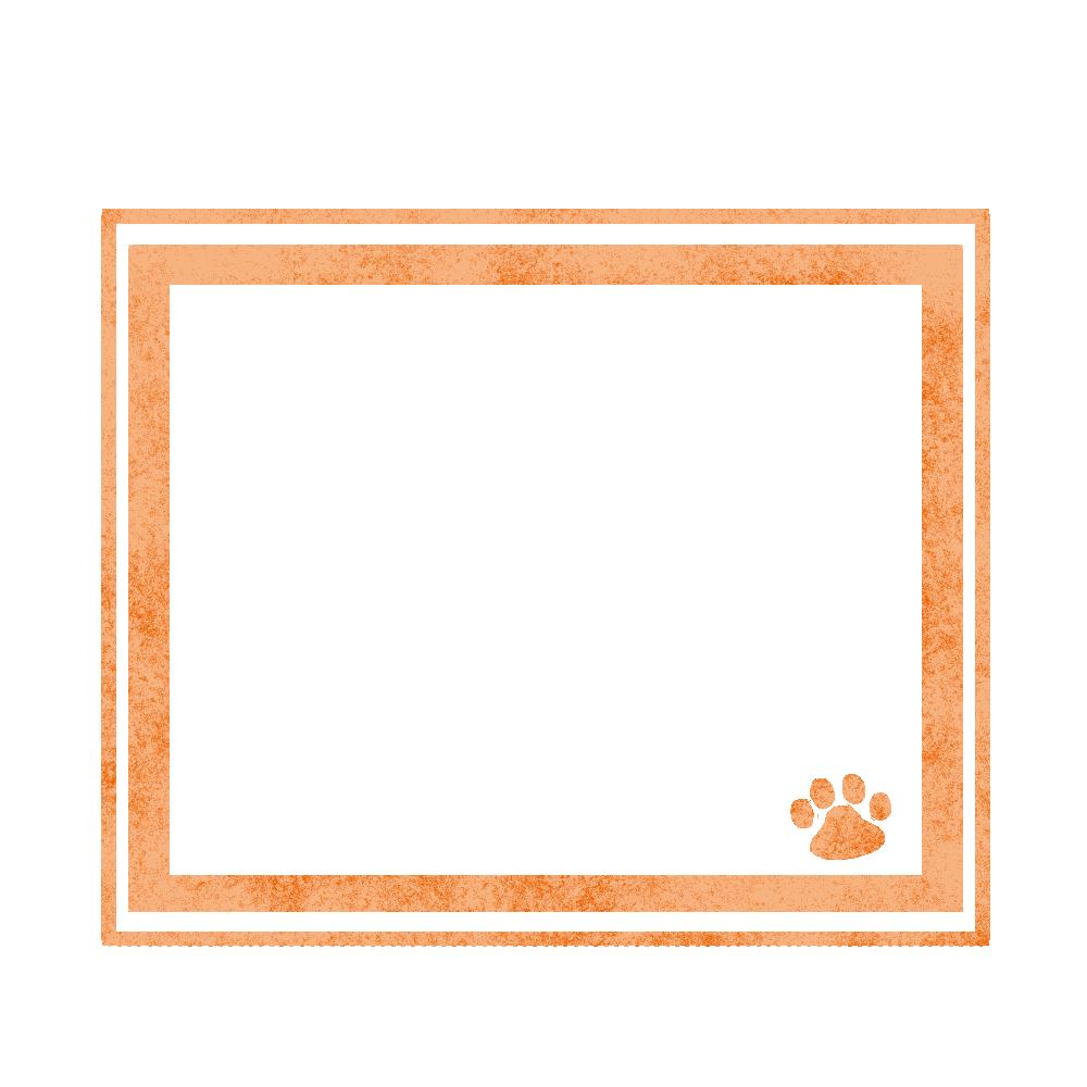 シンプルラインと猫の肉球フレームオレンジ