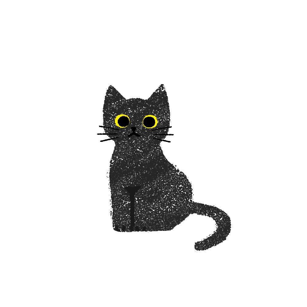 がさがさタッチおすわり猫1黒