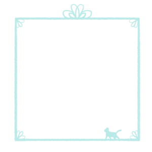 かすれ線と猫の四角フレームブルー
