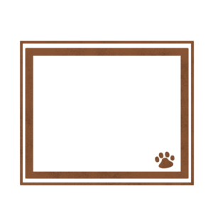 シンプルラインと猫の肉球フレームブラウン-Simple line and cat's pad frame brown-