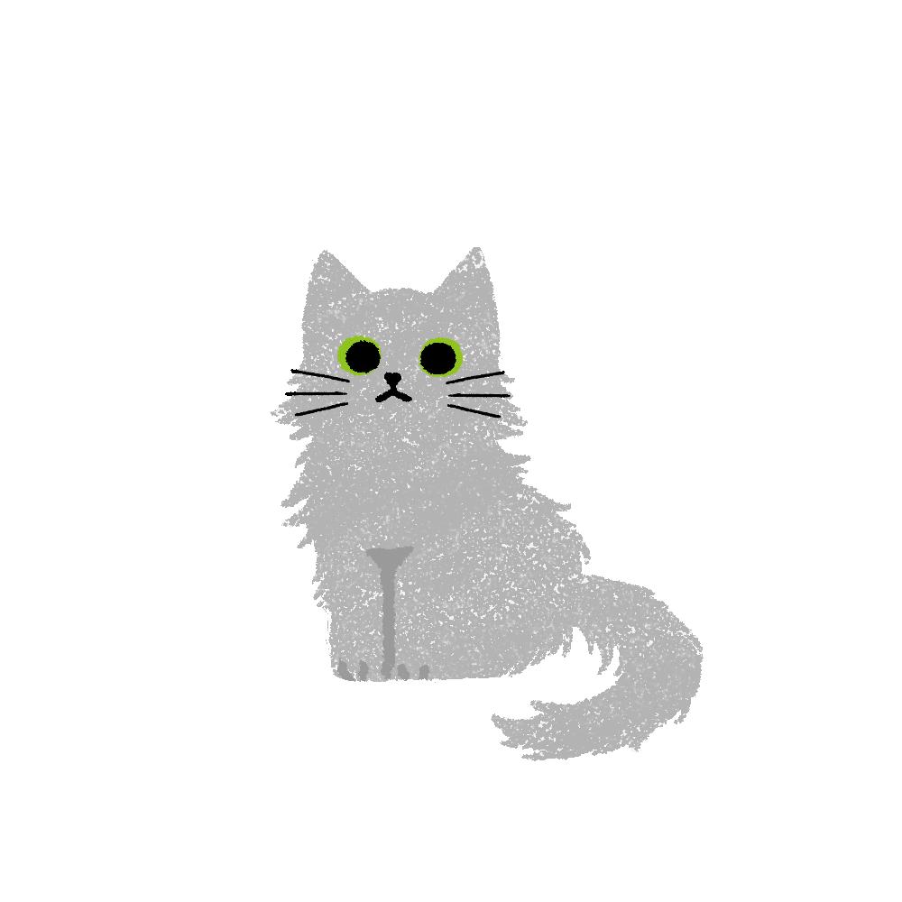 がさがさタッチおすわり猫2グレー
