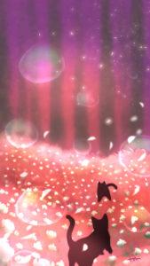 スマホ用壁紙魔法の森の2匹の黒猫夕暮れ時-Wallpaper Two black cats in the magical forest At dusk