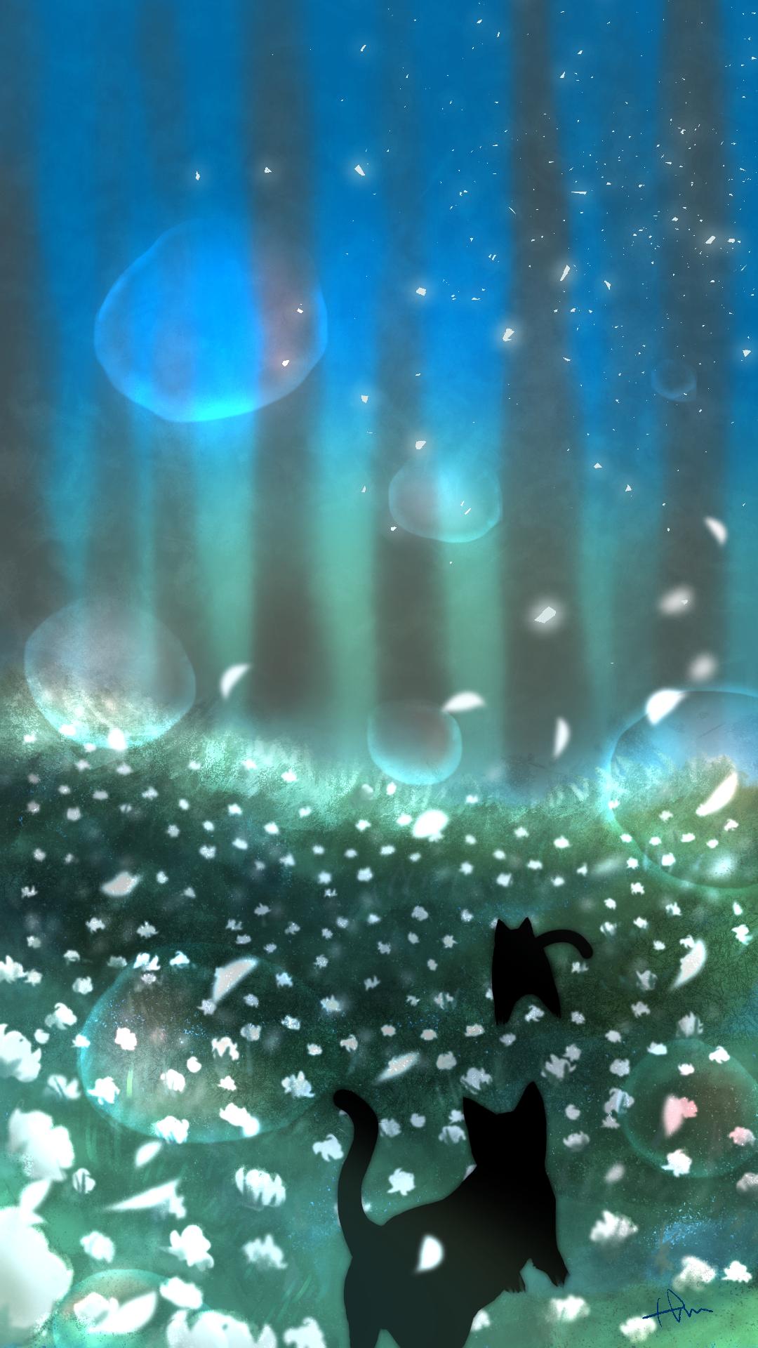 スマホ用壁紙魔法の森の2匹の黒猫夜明け前-Wallpaper 2 black cats in the magical forest before dawn