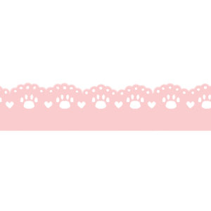猫の肉球柄レースラインパステルピンク300