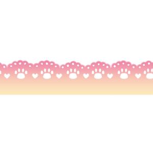 猫の肉球柄レースラインピンク系グラデーション300