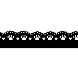 猫の肉球柄レースラインブラック300