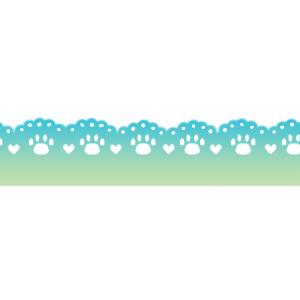 猫の肉球柄レースラインブルー系グラデーション300