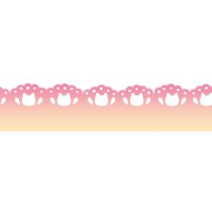 猫の顔のレースラインピンク系グラデーション300