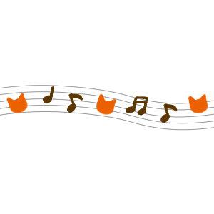 音符と猫の顔のラインブラウン×オレンジ
