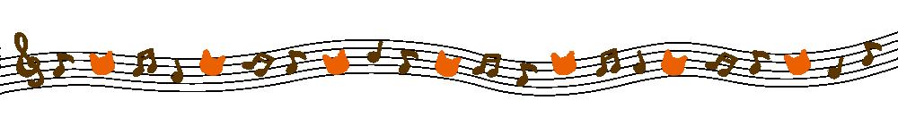 音符と猫の顔のラインブラウン×オレンジ-Notes and cat's face brown orange-