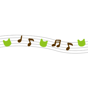 音符と猫の顔のラインブラウン×グリーン