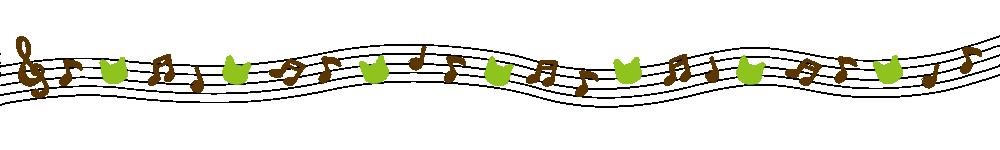 音符と猫の顔のラインブラウン×グリーン-Notes and cat's face brown green-
