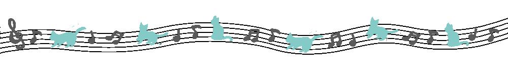 音符と猫のライングレー×ブルー-Notes and cat lines Gray × Blue-