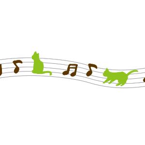 音符と猫のラインブラウン×グリーン
