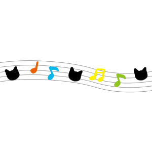 音符と猫の顔のラインカラフル