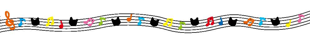音符と猫の顔のラインカラフル-Notes and cat's face colorful-