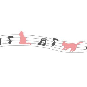 音符と猫のライングレー×ピンク
