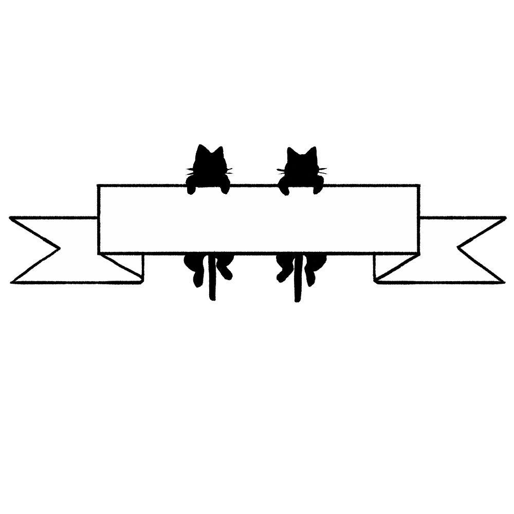 リボンとぶら下がる猫のフレームブラック×ホワイト-Frame of a hanging hanging ribbon black white