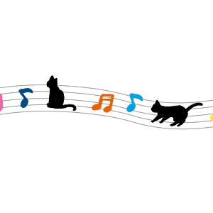 音符と猫のラインカラフル