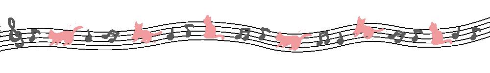 音符と猫のライングレー×ピンク-Notes and cat lines gray pink-