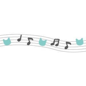 音符と猫の顔のライングレー×ブルー