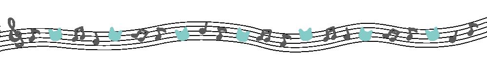 音符と猫の顔のライングレー×ブルー-Notes and cat's face gray blue-
