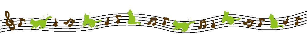 音符と猫のラインブラウン×グリーン-Notes and cat lines Brown × green-