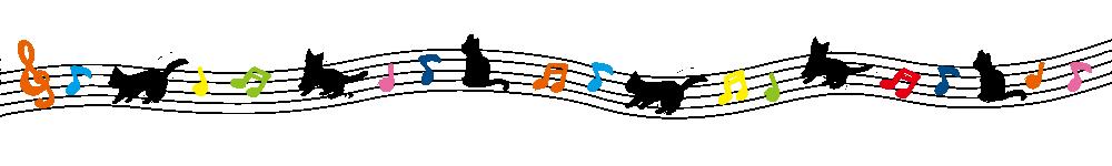 音符と猫のラインカラフル-Notes and cat's line colorful-