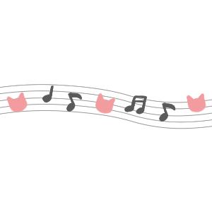 音符と猫の顔のライングレー×ピンク