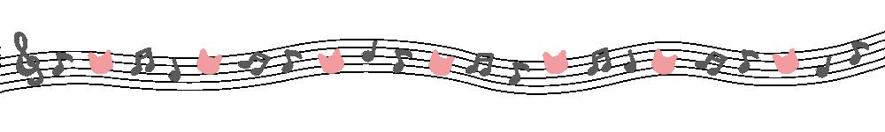 音符と猫の顔のライングレー×ピンク-Notes and cat's face gray pink-