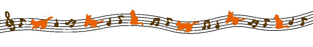 音符と猫のラインブラウン×オレンジ-Notes and cat lines Brown × Orange-