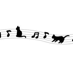音符と猫のラインブラック