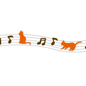 音符と猫のラインブラウン×オレンジ