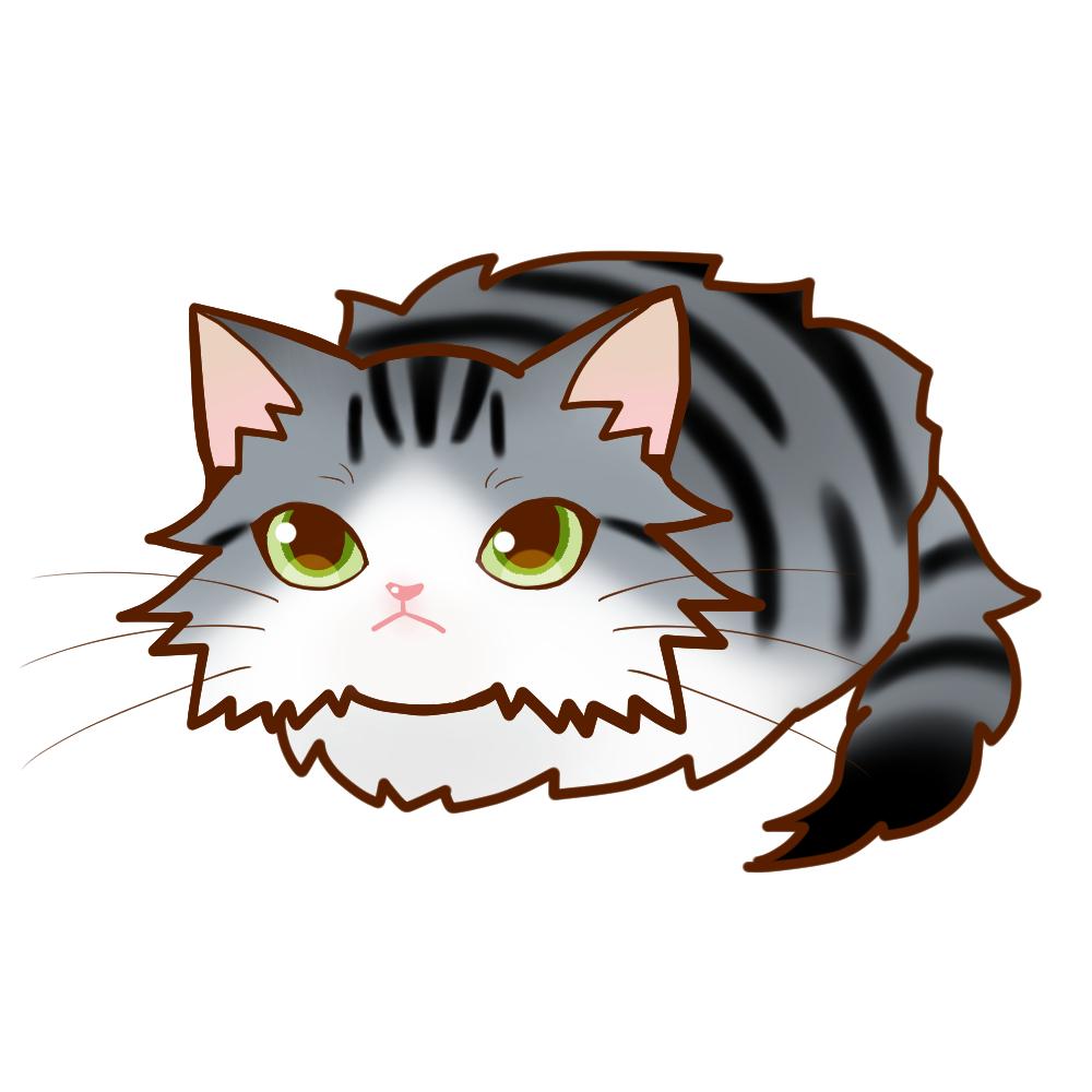 まんじゅうノルシルバータビー&ホワイト全身A-Manjyu cat nor-silvertabby-white whole body A-