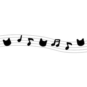 音符と猫の顔のラインブラック