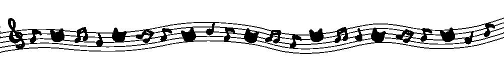 音符と猫の顔のラインブラック-Notes and cat's face black-