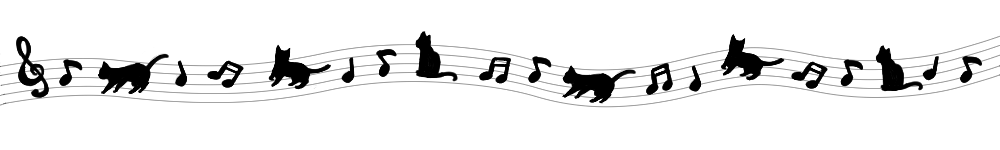 音符と猫のラインブラック-Notes and cat's line black-