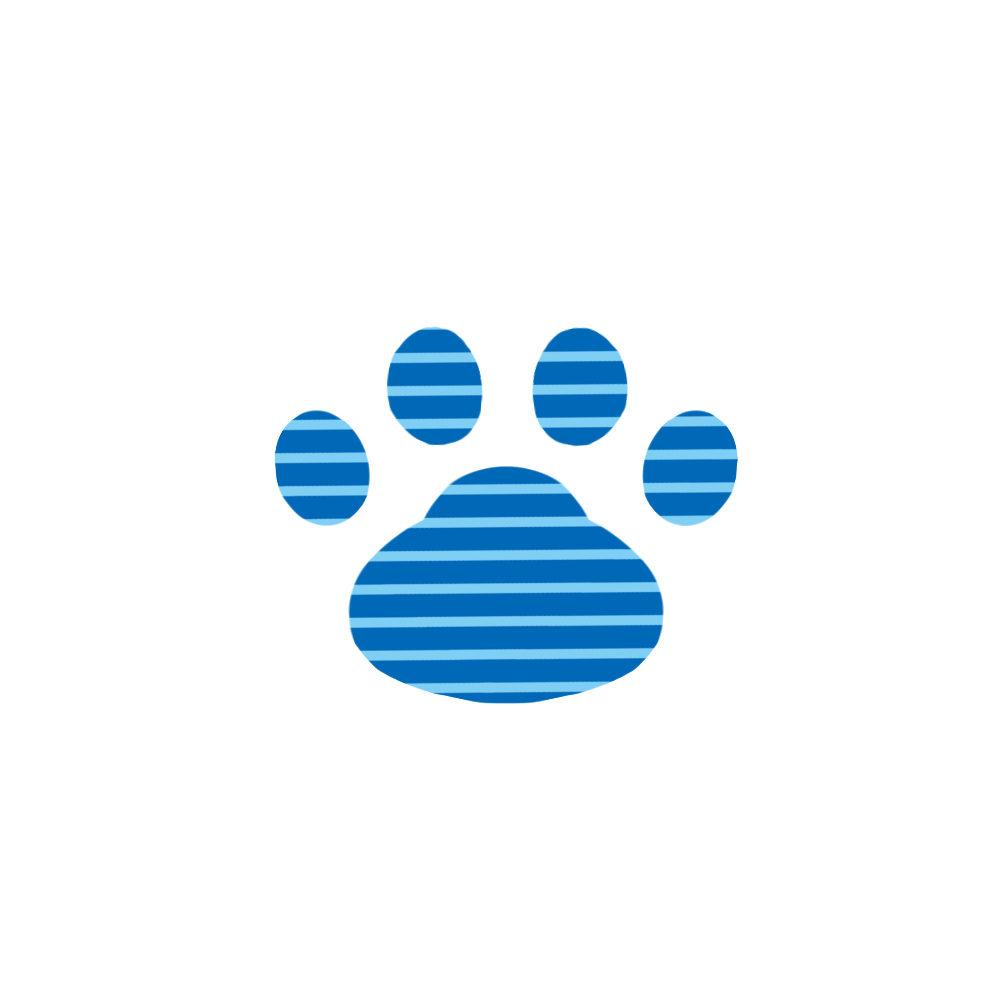 -border-paw-pad-blue-ボーダー肉球足跡ブルー