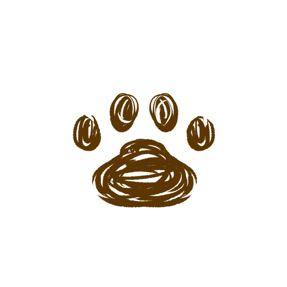 -rough-paw-pad-brown-ラフな線の肉球足跡ブラウン