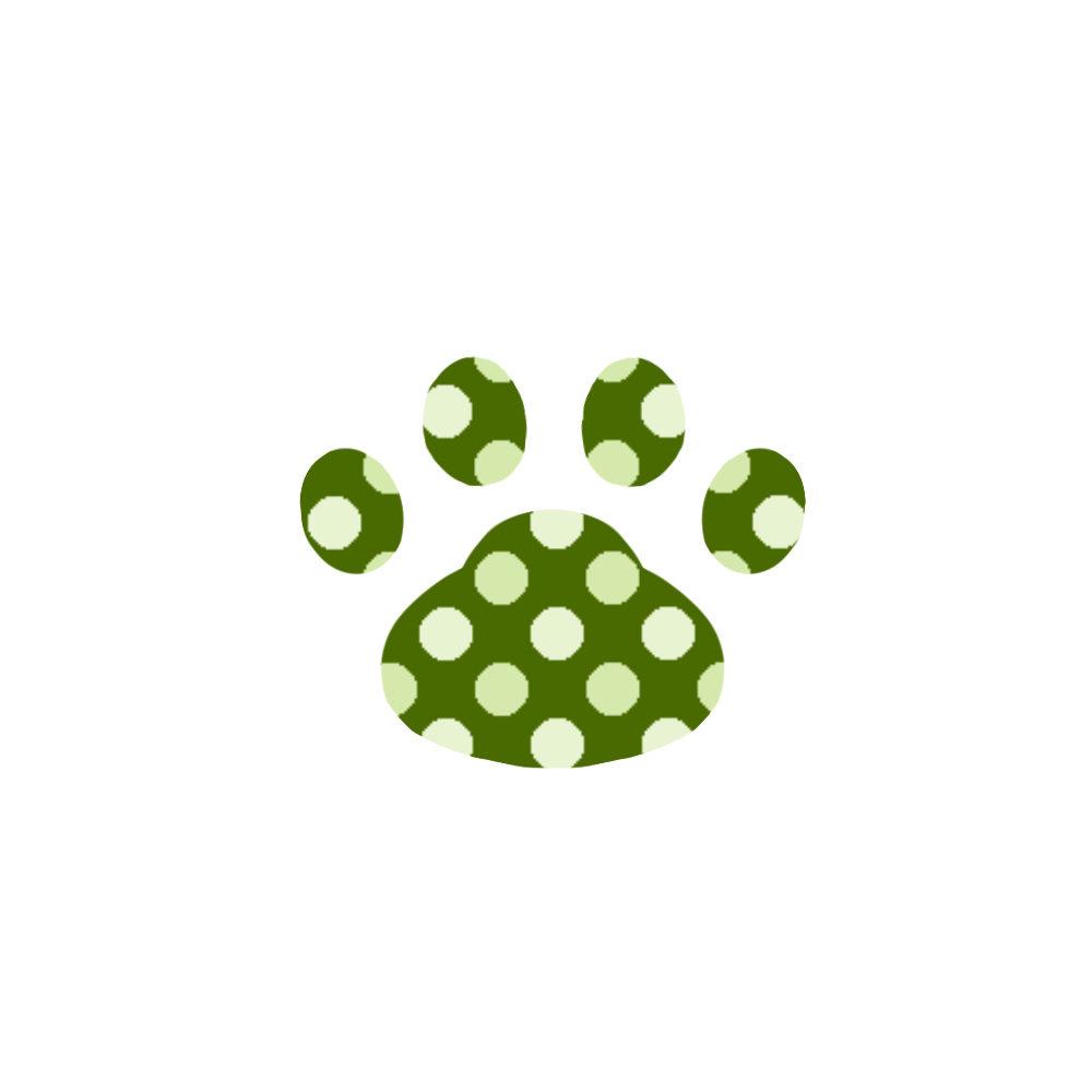 -dot-paw-pad-green-ドット肉球足跡グリーン