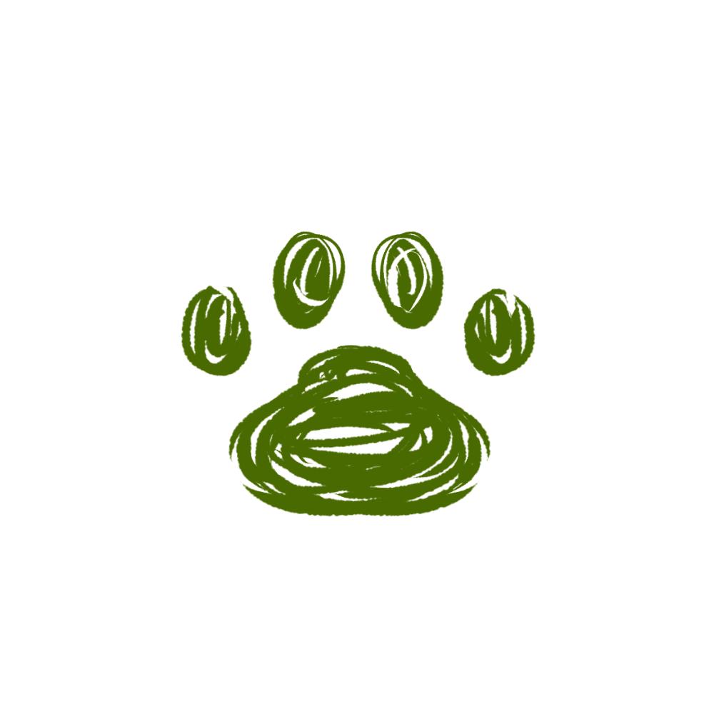 -rough-paw-pad-green-ラフな線の肉球足跡グリーン