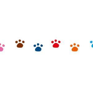 猫の足跡横並びラインカラフル300