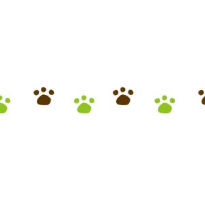 猫の足跡横並びラインブラウン×グリーン300