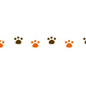 猫の足跡横並びラインブラウン×オレンジ300